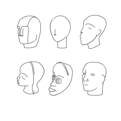 composite drawing of a head